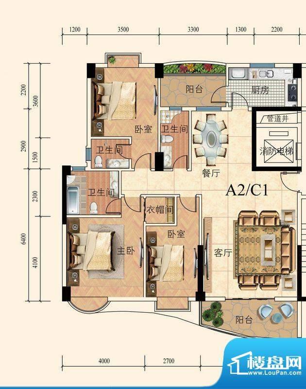 育德上院A座02单元标面积:139.00m平米