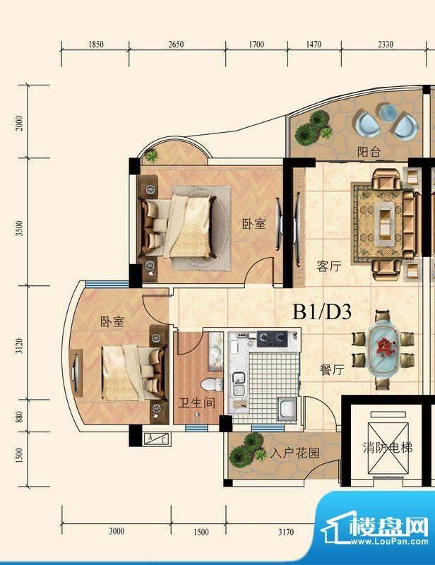 育德上院B座01单元标面积:83.00m平米