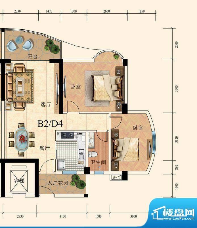 育德上院B座02单元标面积:83.00m平米