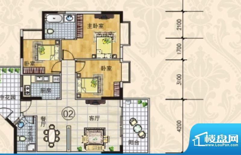 南景华府8座电梯洋房面积:107.73m平米