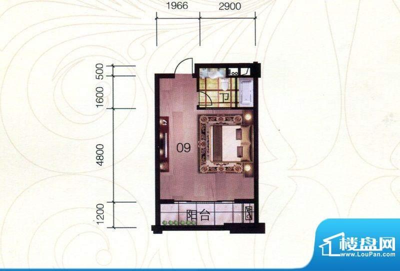 伯爵半岛产权式酒店面积:58.44m平米