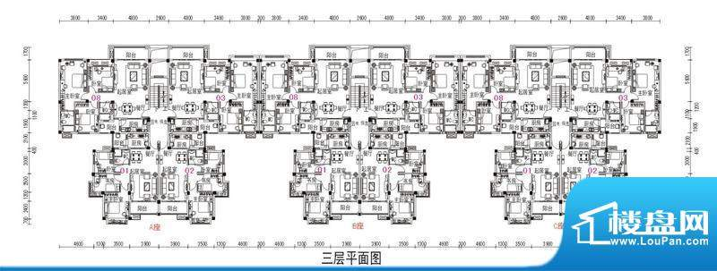 鹤山碧桂园2号楼三层面积:79.98m平米