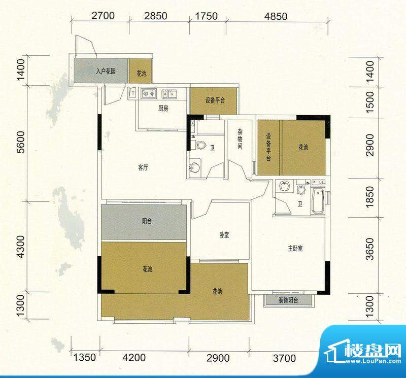 领美花园8栋F户型标面积:89.18m平米