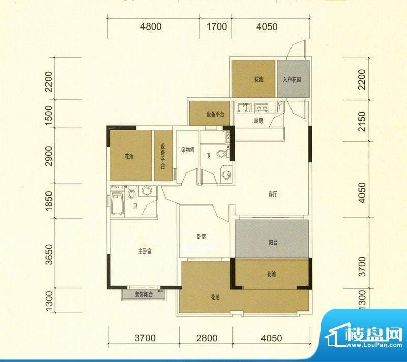 领美花园9栋A户型标面积:90.00m平米