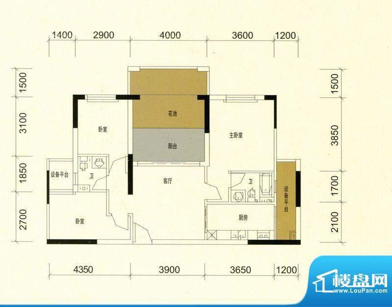 领美花园9栋C户型标面积:91.00m平米
