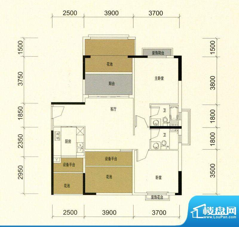 领美花园9栋D户型标面积:90.00m平米