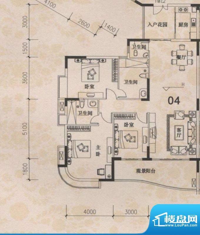 丰盛苑25幢04户型标面积:157.13m平米