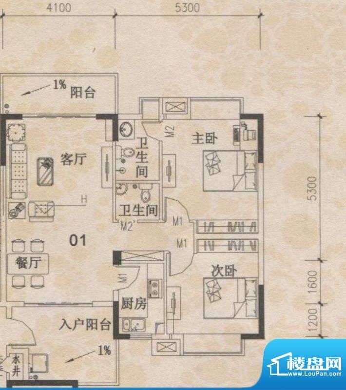 丰盛苑28幢标准层01面积:93.84m平米
