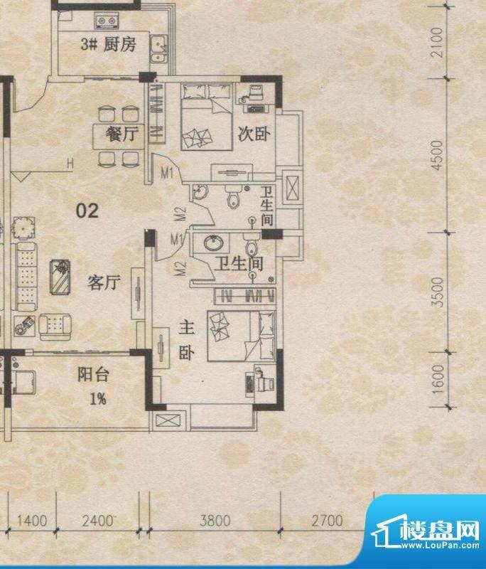 丰盛苑28幢标准层02面积:95.25m平米
