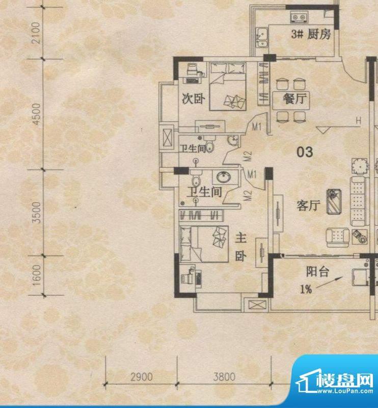 丰盛苑28幢标准层03面积:95.25m平米