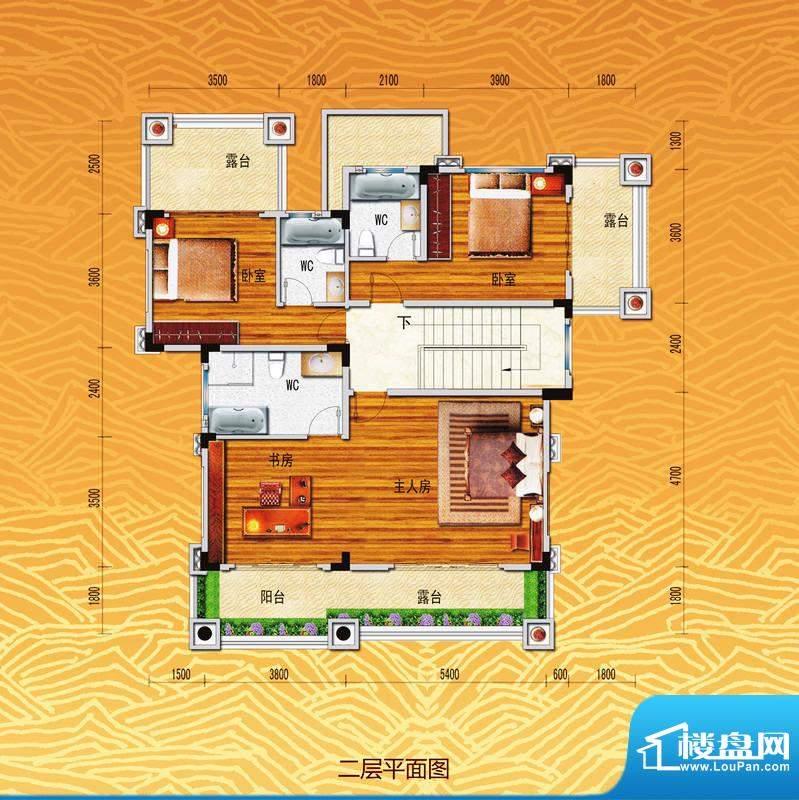 凤飞云VII别墅二层平面积:336.00m平米