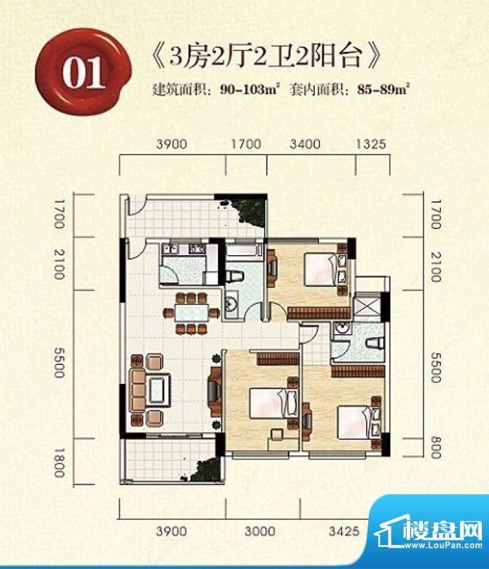 宝丰新城7栋标准层0面积:103.00m平米