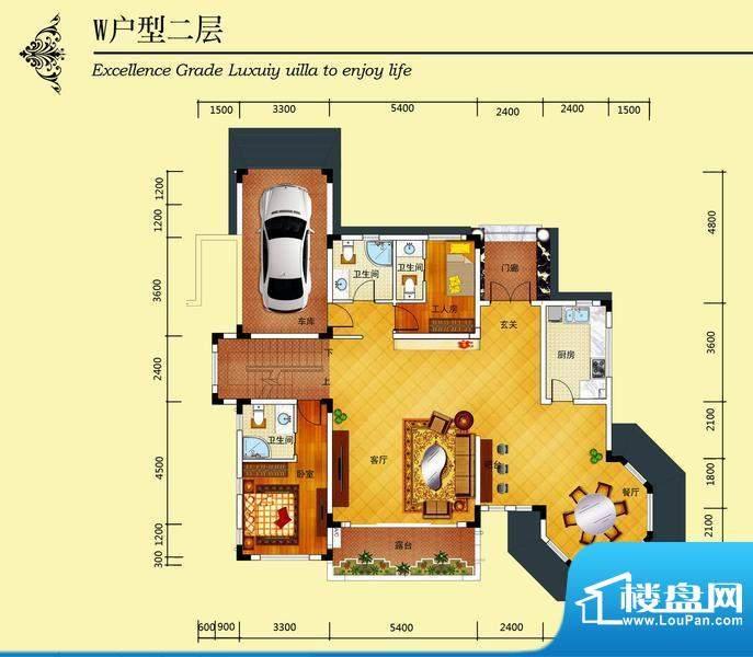 华侨花园W户型二层 面积:365.70m平米