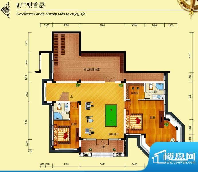 华侨花园W户型首层 面积:365.70m平米