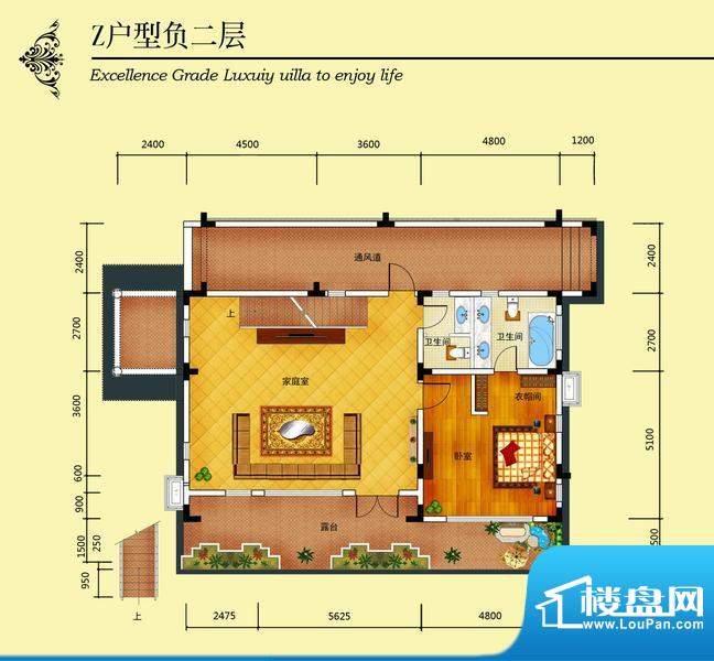华侨花园Z户型负二层面积:668.48m平米