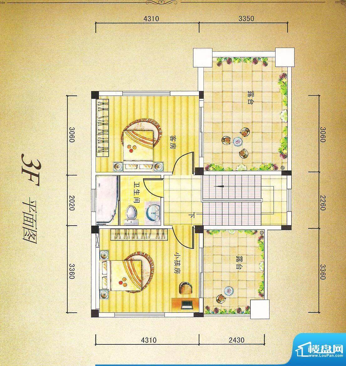 灏昌园A户型3F 4室2面积:190.00m平米
