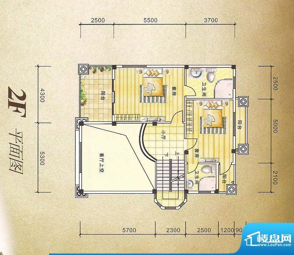 灏昌园D户型2F 6室2面积:289.00m平米