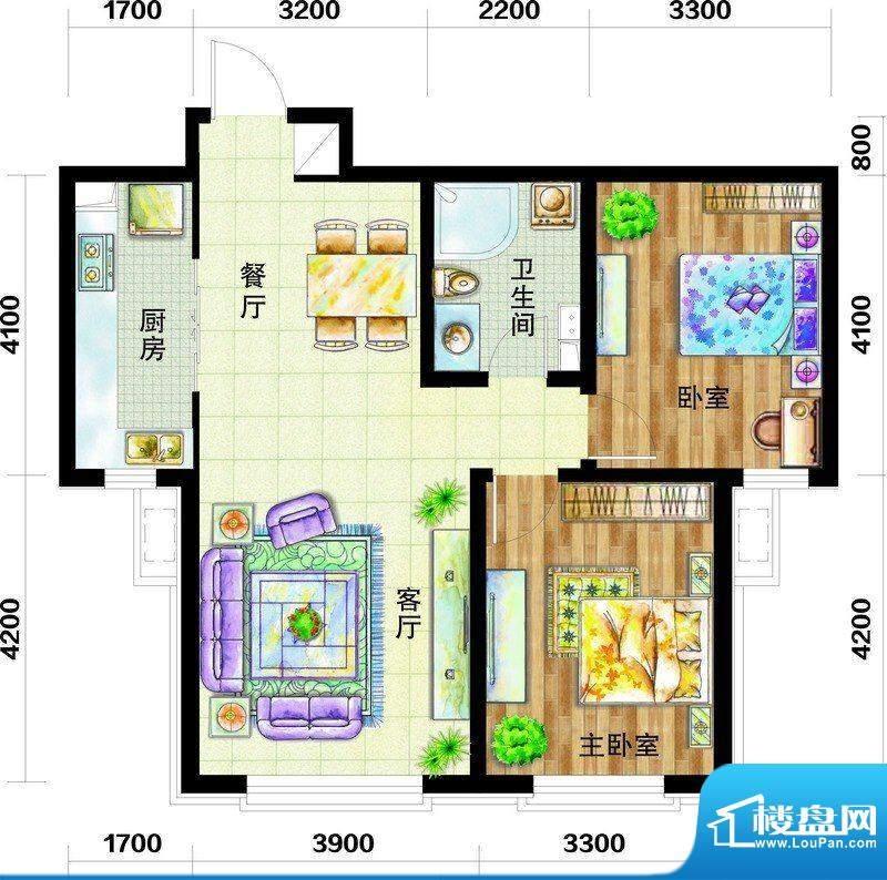 天庆国际新城户型图B2-2户型图面积:97.00平米