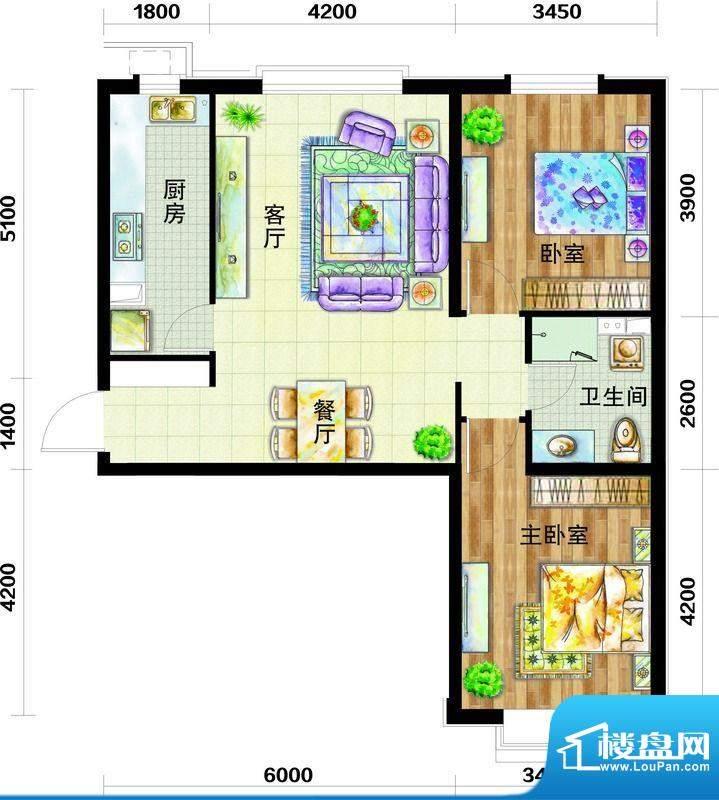 天庆国际新城户型图A1户型图 2面积:96.00平米