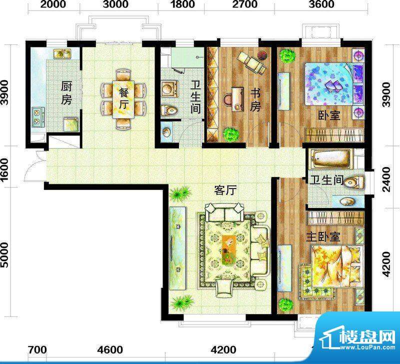 天庆国际新城户型图C1户型图 3面积:138.00平米
