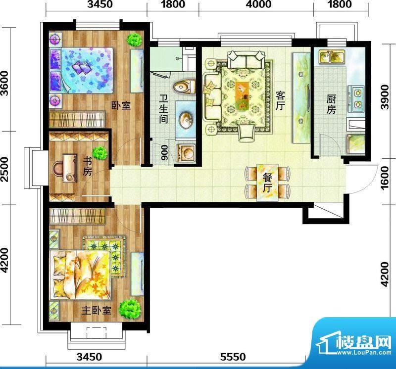 天庆国际新城户型图E4户型图 3面积:97.00平米