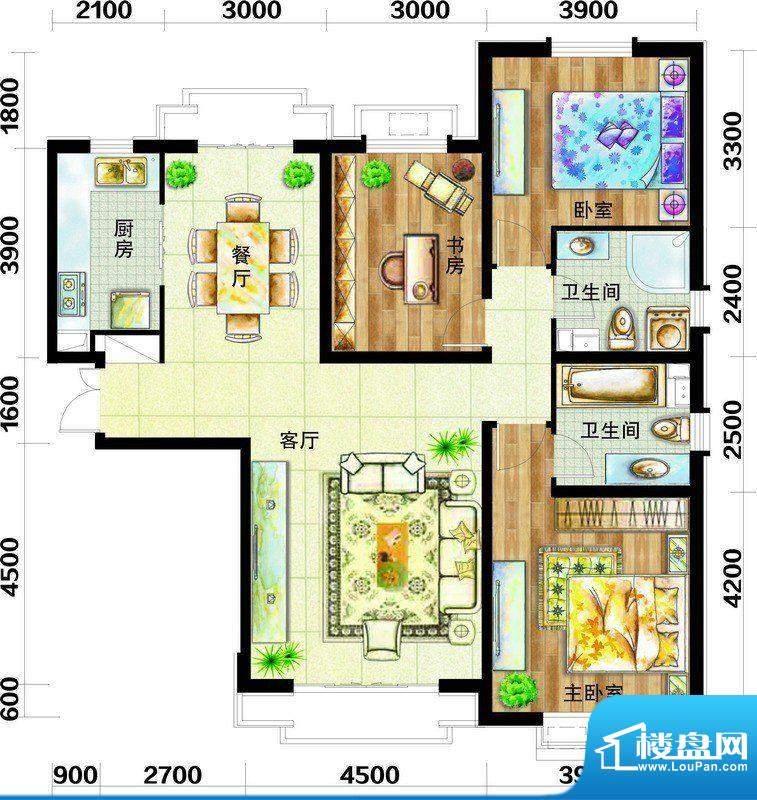 天庆国际新城户型图H1户型图 3面积:147.00平米