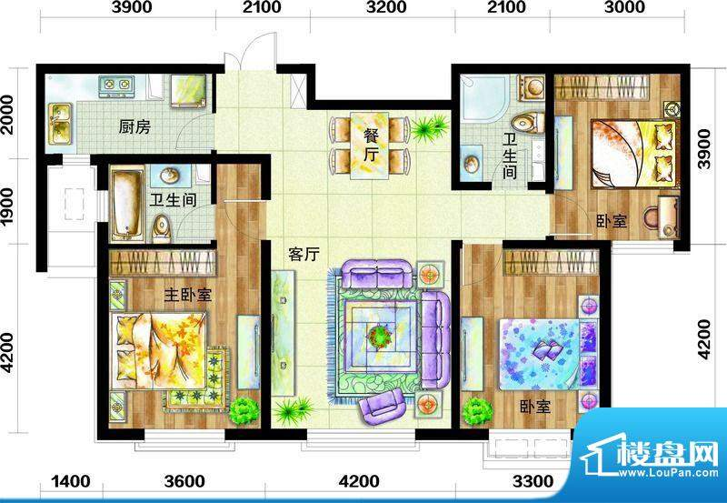 天庆国际新城户型图H2户型图 3面积:123.00平米