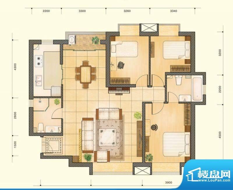 仁恒美林郡户型图A5户型图 3室面积:140.41平米