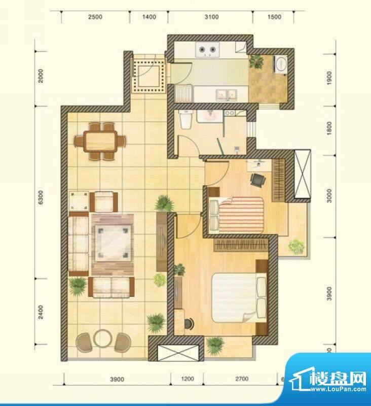 仁恒美林郡户型图B户型图 2室2面积:93.16平米