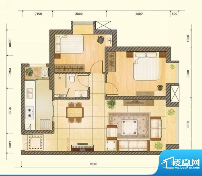 仁恒美林郡户型图D户型图 2室2面积:87.82平米