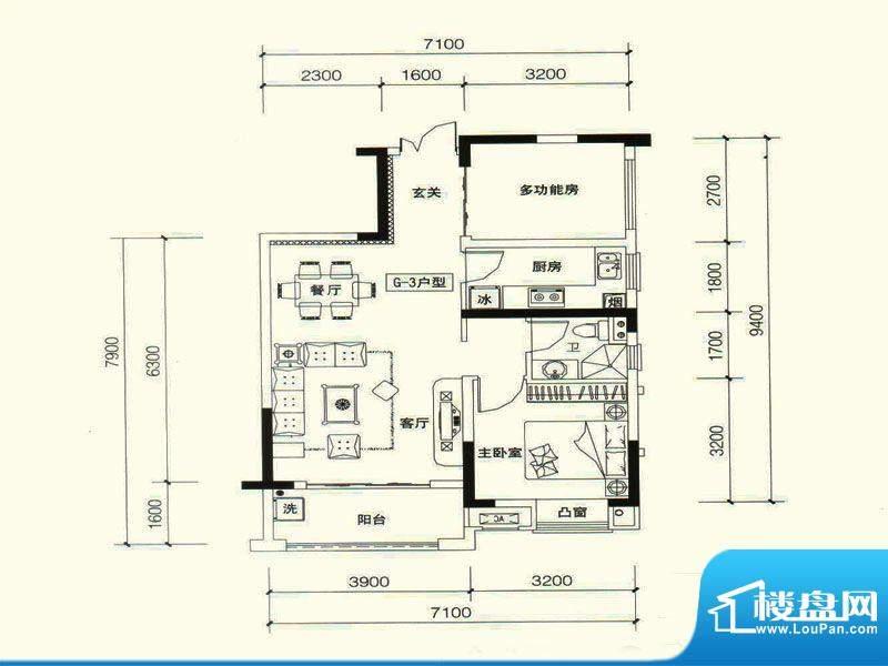 力高国际城户型图五期11#楼G3改面积:65.00平米