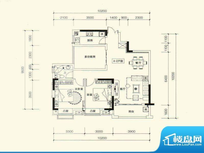 力高国际城户型图五期11#楼A2改面积:89.00平米