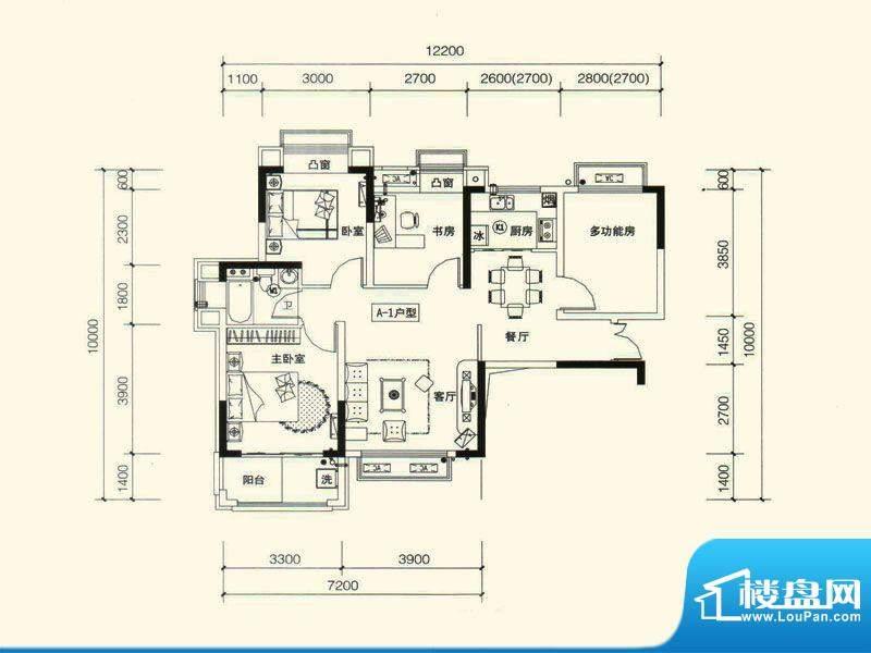 力高国际城户型图五期11#楼A1改面积:89.00平米