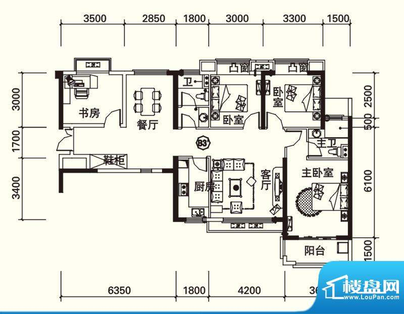力高国际城户型图四期13#楼B3'面积:126.00平米