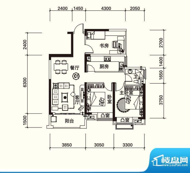 力高国际城户型图四期13#楼C1改面积:89.00平米