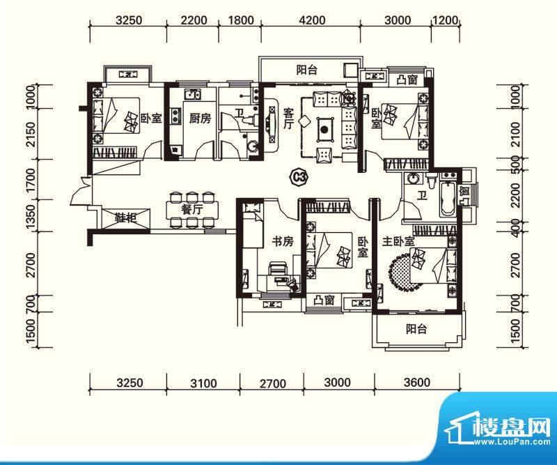 力高国际城户型图四期13#楼C3改面积:139.00平米