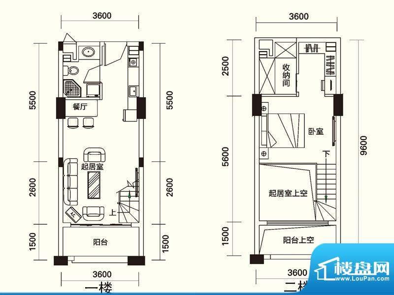 力高国际城户型图25号楼LOFT公面积:42.74平米