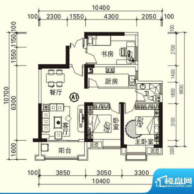 力高国际城户型图四期高层1#楼面积:89.82平米