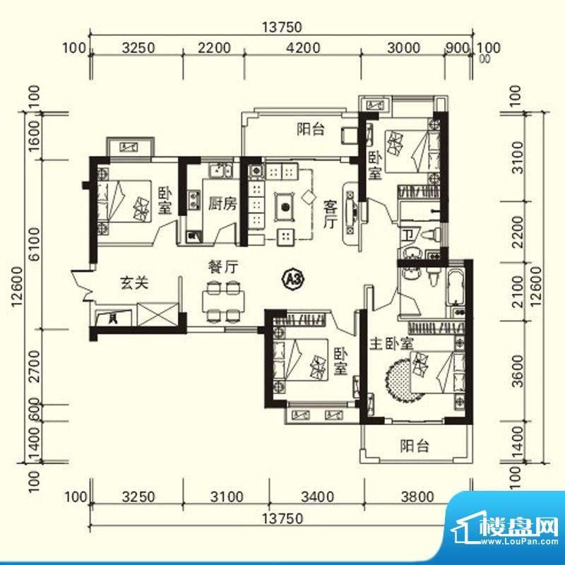 力高国际城户型图四期高层1#楼面积:117.13平米