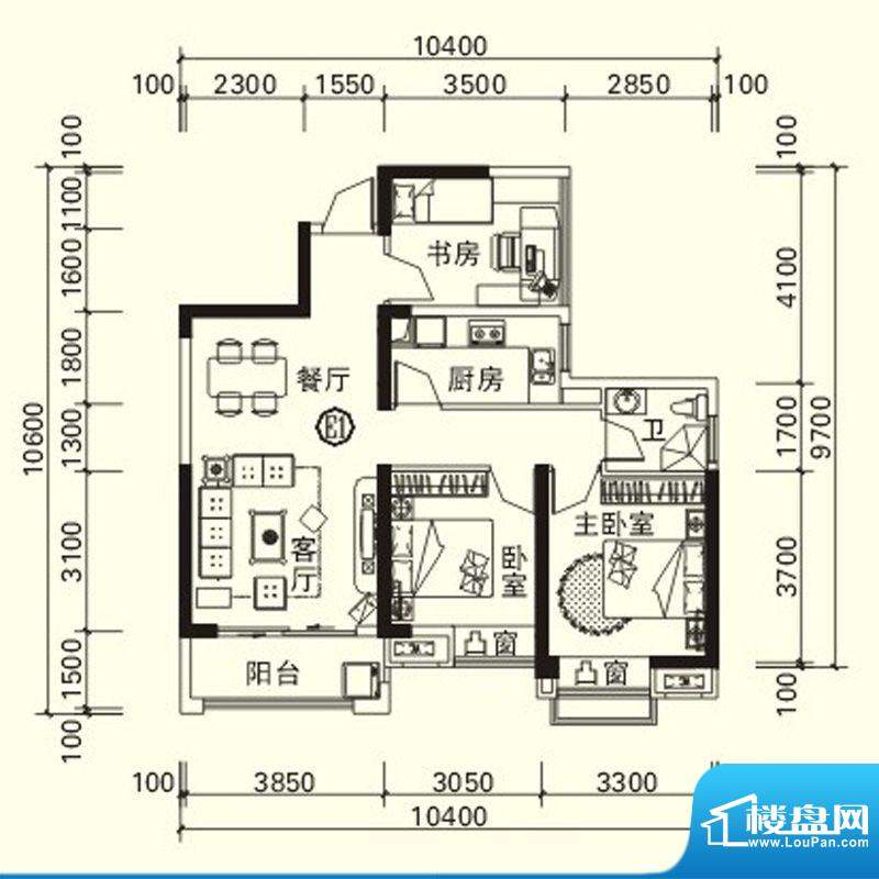 力高国际城户型图四期高层5#、面积:88.19平米