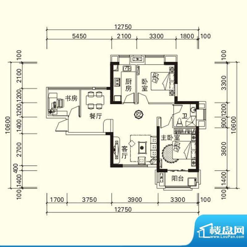 力高国际城户型图四期高层5#、面积:86.31平米