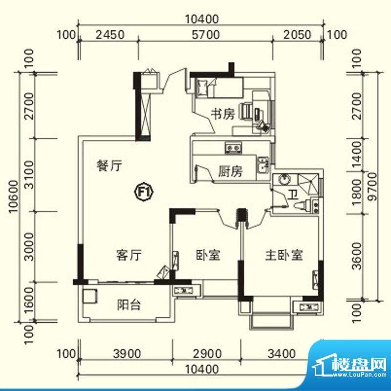 力高国际城户型图四期高层10#楼面积:86.26平米