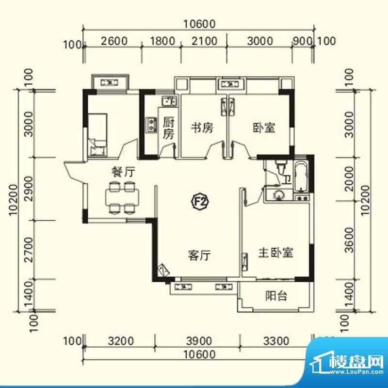 力高国际城户型图四期高层10#楼面积:87.81平米