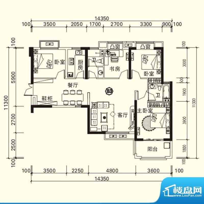 力高国际城户型图四期高层13#楼面积:117.67平米