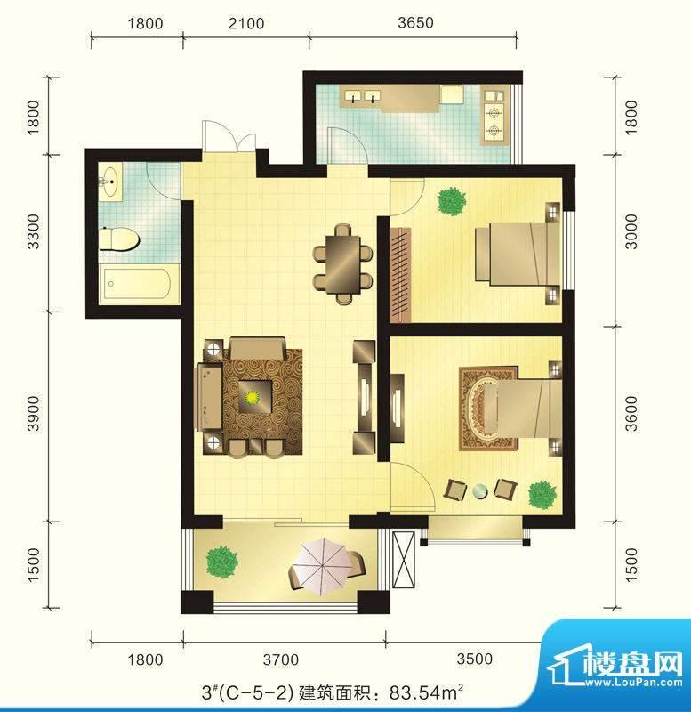 新元绿洲户型图3号楼C-5-2户型面积:83.54平米