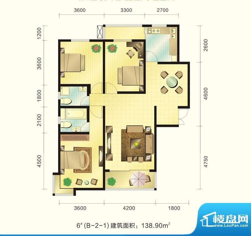 新元绿洲户型图6号楼B-2-1户型面积:138.90平米