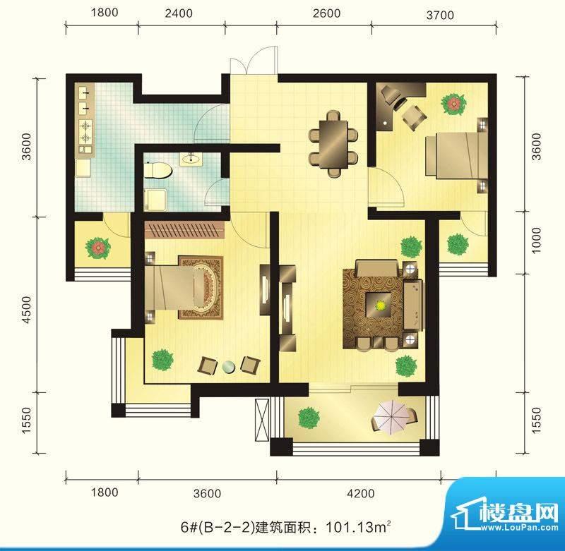 新元绿洲户型图6号楼B-2-2户型面积:101.13平米