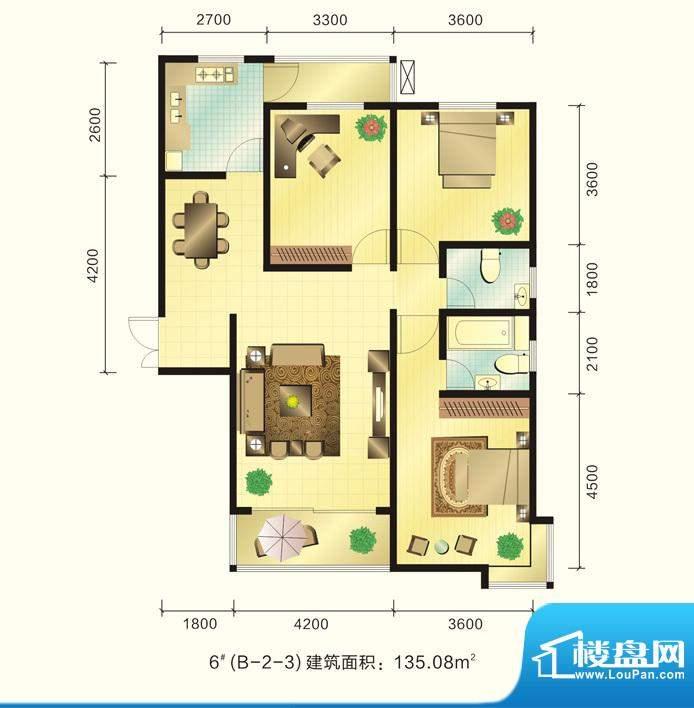 新元绿洲户型图6号楼B-2-3户型面积:135.08平米
