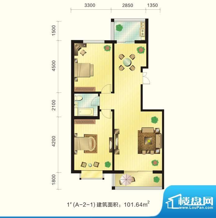 新元绿洲户型图1号楼A-2-1户型面积:101.64平米
