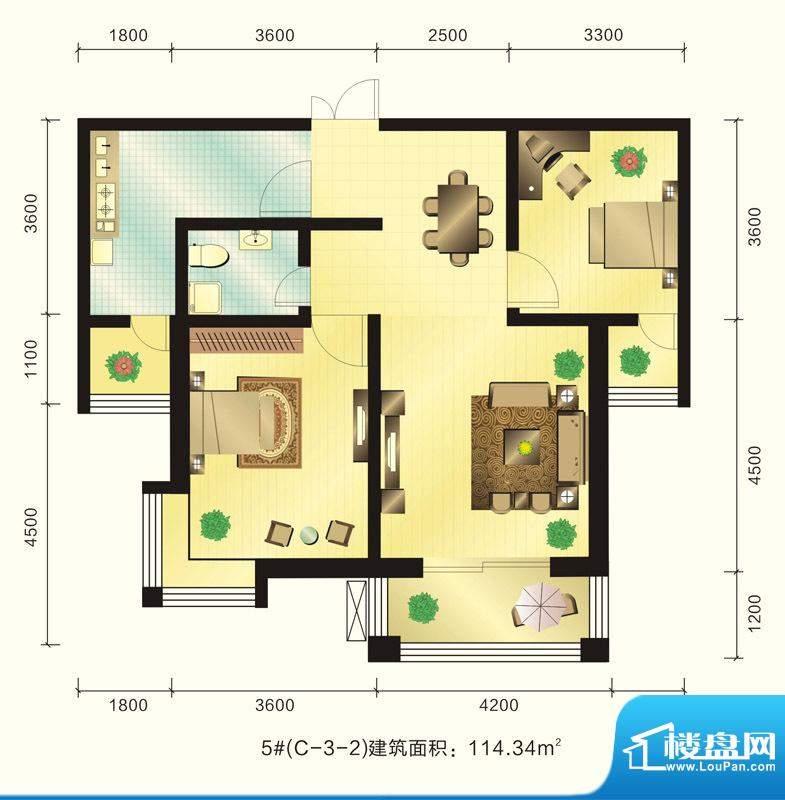 新元绿洲户型图5号楼C-3-2户型面积:114.34平米
